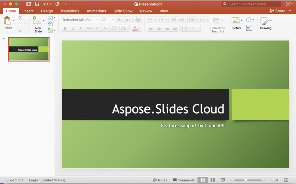 Preview of input Presentation file