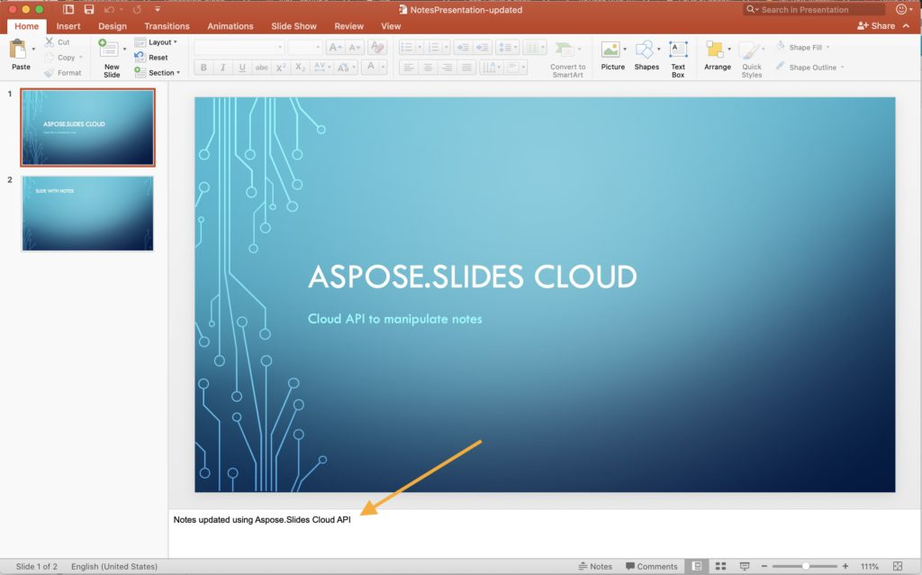 PowerPoint Slide notes updated