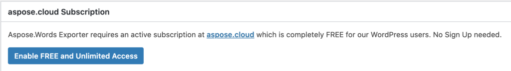 Enable free access privileges using aspose.cloud account.