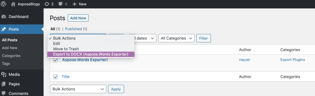 Aspose.Words Exporter option to export the post.