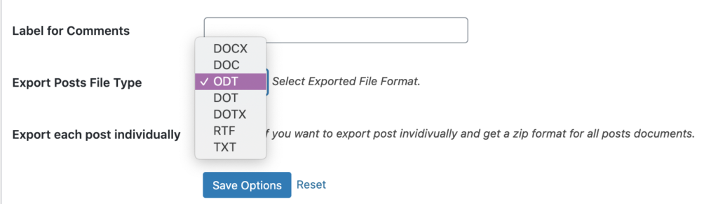 Document Export format settings