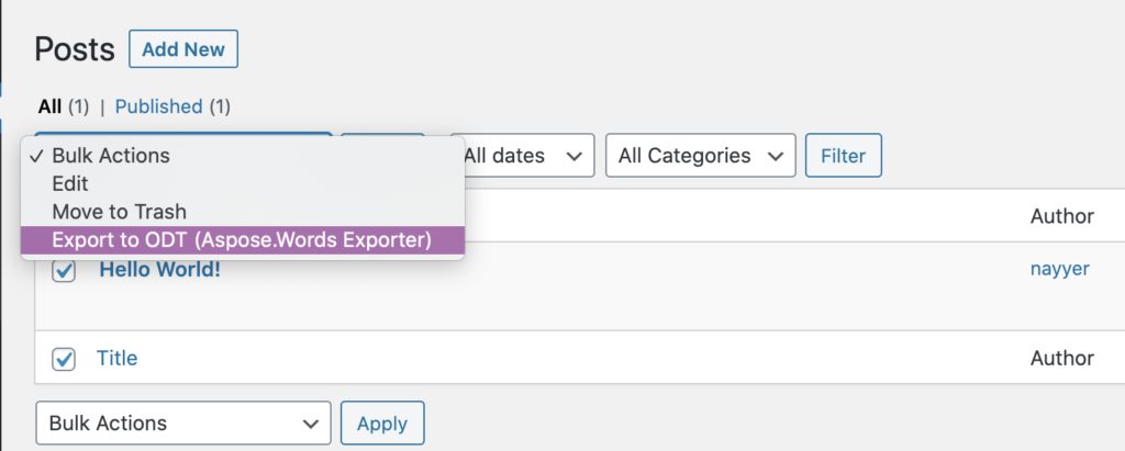 ODT appearing as Document export format.