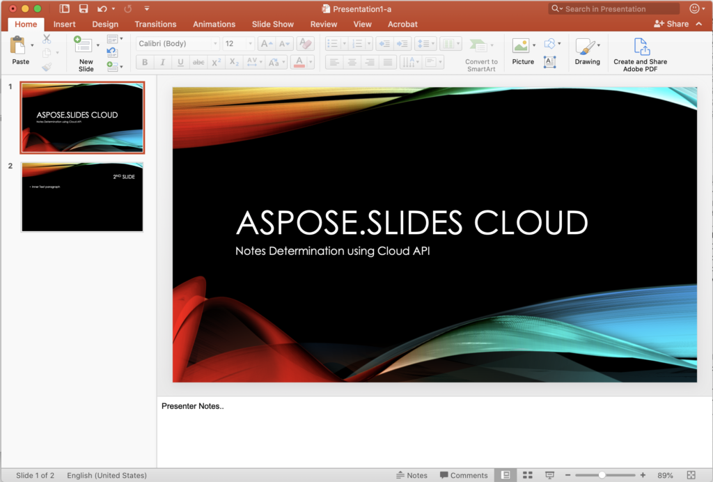 PowerPoint slide with Notes