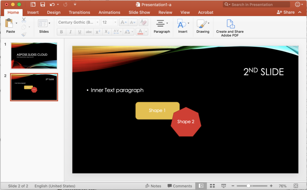 PowerPoint slide with smart shapes