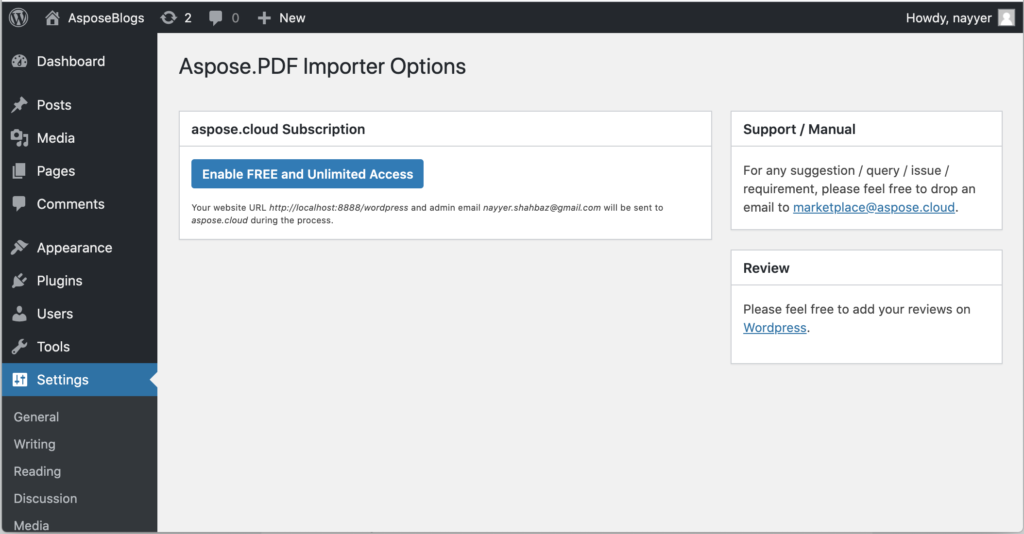 PDF Importer plugin settings screen.