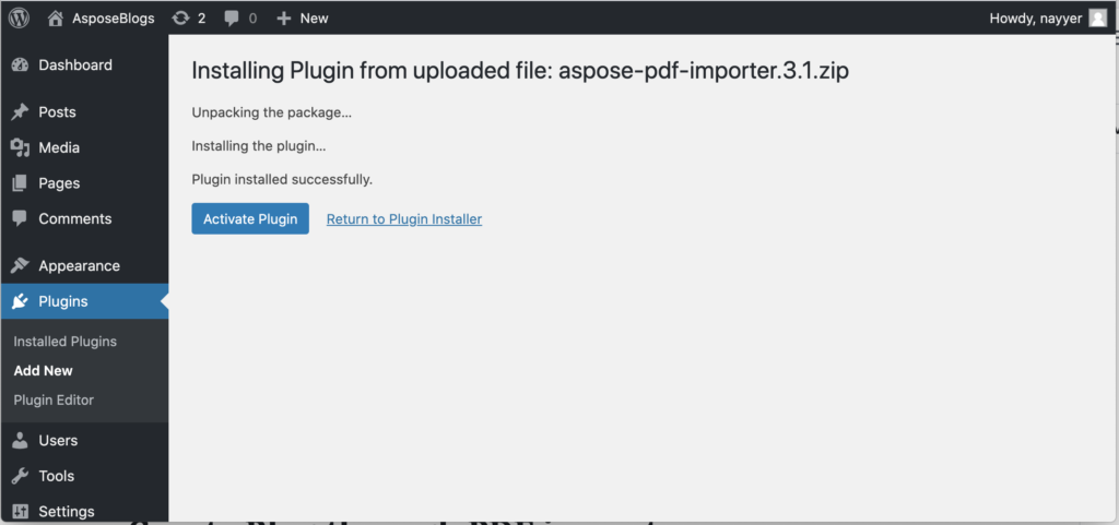 Image to Activate Plugin.
