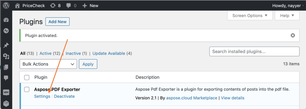 Settings link for Aspose.PDF Exporter plugin