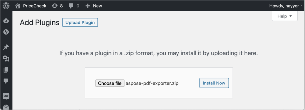 Aspose.PDF Exporter plugin installation with .zip file