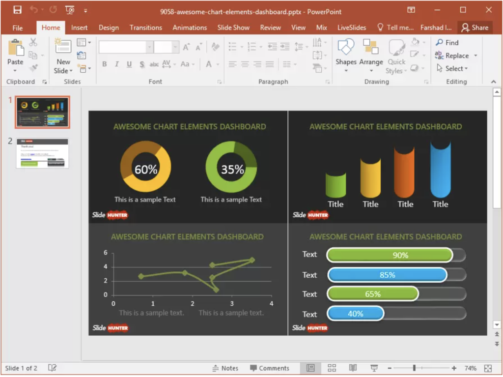 Charts in PowerPoint presentation