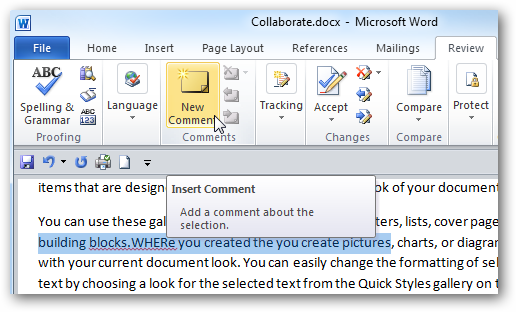 comments preview in ms word file