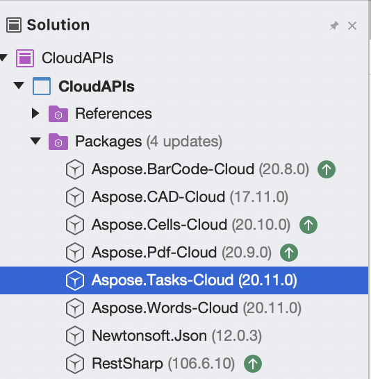 Aspsoe.Tasks Cloud added to project packages