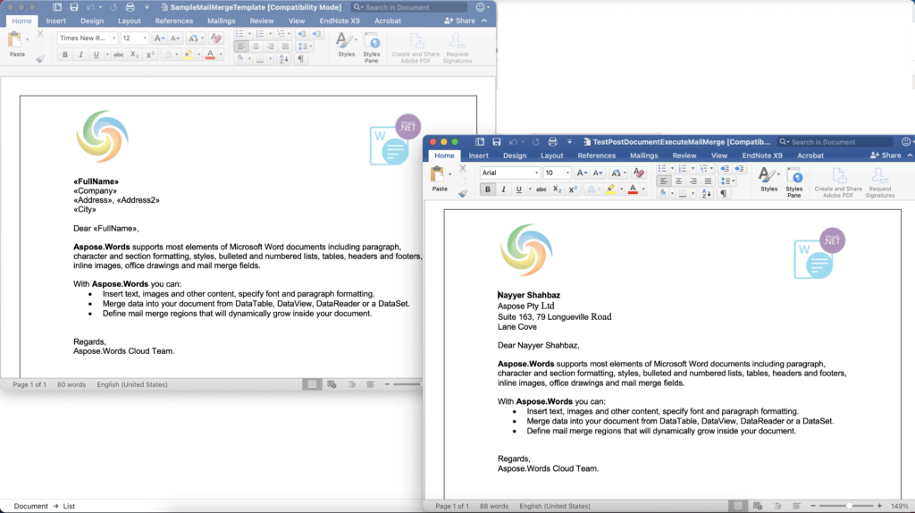preview after data merge in Mail merge template