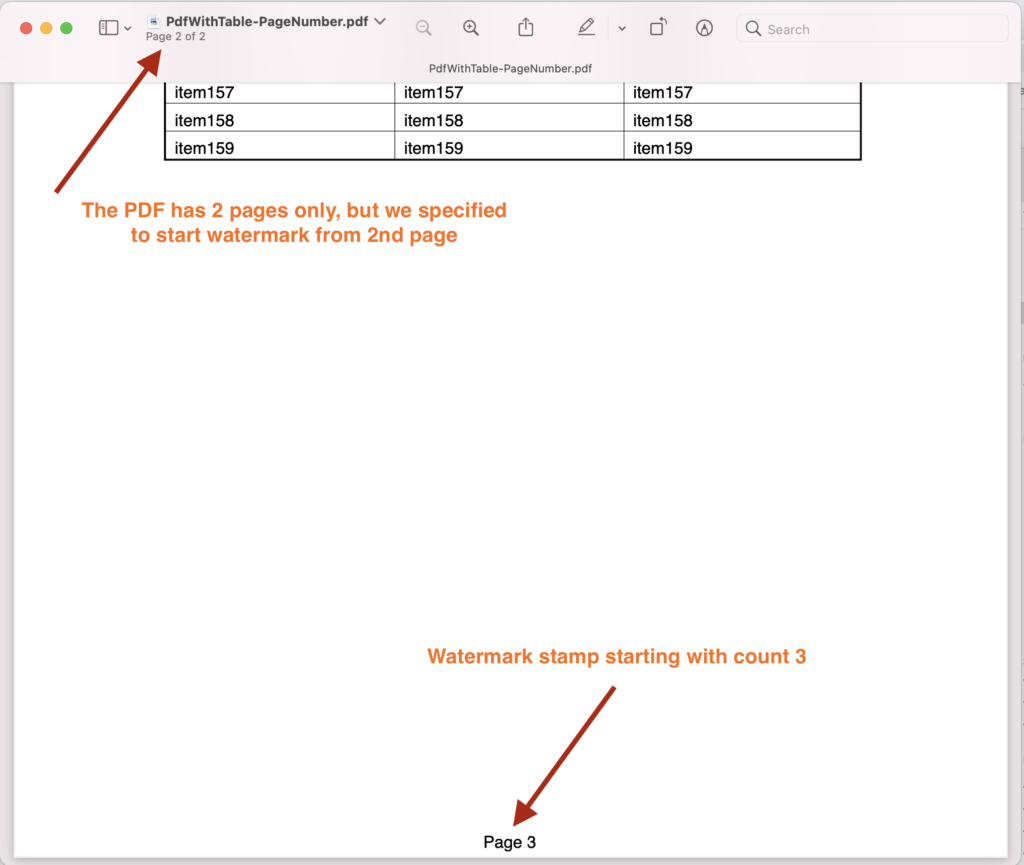 Page Number stamp in PDF