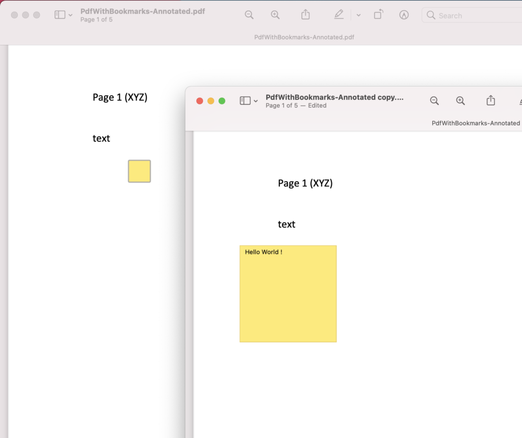 Text Annotation in PDF