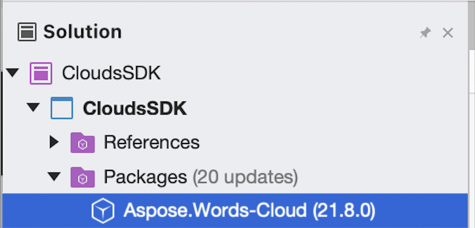 Aspose.Words-Cloud package in project